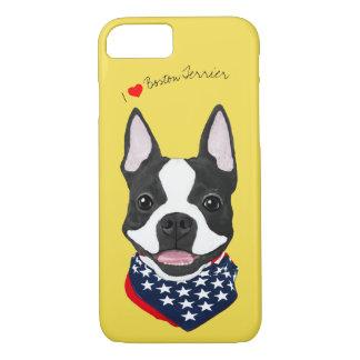 Coque iPhone 7 Boston Terrier a illustré le cas de téléphone