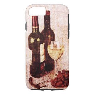 Coque iPhone 7 Bouteilles avec du vin, le verre de vin blanc et