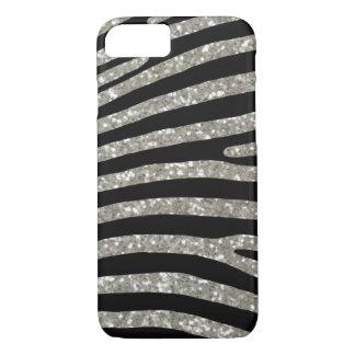 Coque iPhone 7 Caisse argentée de rayure de zèbre de parties