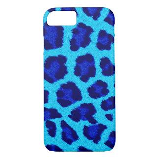 Coque iPhone 7 Caisse bleue de téléphone d'empreinte de léopard