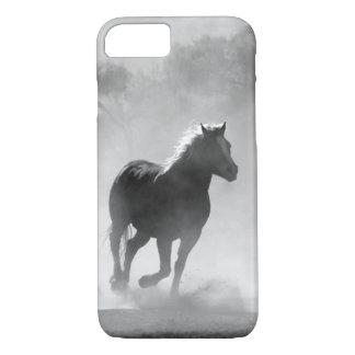 Coque iPhone 7 Caisse galopante assez noire et blanche de cheval