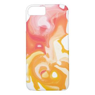 Coque iPhone 7 Caisse liquide abstraite de téléphone de jaune