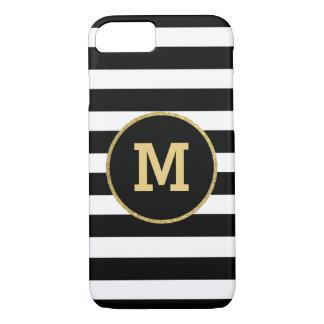 Coque iPhone 7 Caisse noire moderne de l'iPhone 7 de monogramme