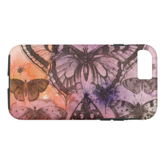 Coque iPhone 7 Caisse pourpre de téléphone portable de papillons