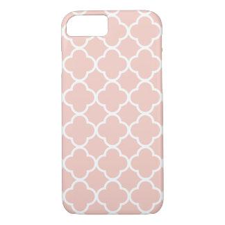 Coque iPhone 7 Caisse rose de téléphone de motif de Quatrefoil