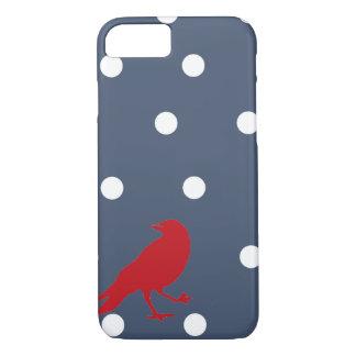Coque iPhone 7 Caisse rouge de téléphone d'oiseau de point de