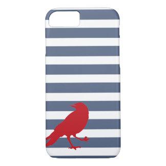 Coque iPhone 7 Caisse rouge rayée de bleu marine et blanche