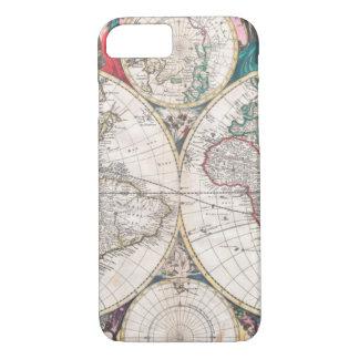 Coque iPhone 7 Carte antique du monde de Double-Hémisphère