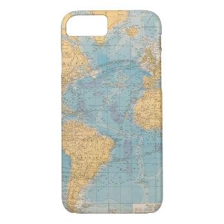 Coque iPhone 7 Carte de l'Océan Atlantique