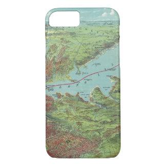 Coque iPhone 7 Carte de vue d'oeil d'oiseaux de New York et de