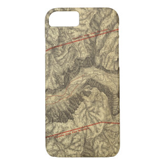 Coque iPhone 7 Carte topographique de la vallée 2 de Yosemite