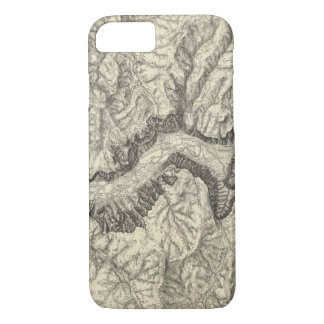 Coque iPhone 7 Carte topographique de la vallée de Yosemite