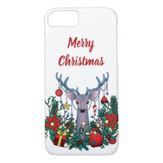 Coque iPhone 7 Cas de Joyeux Noël avec des cerfs communs de Noël