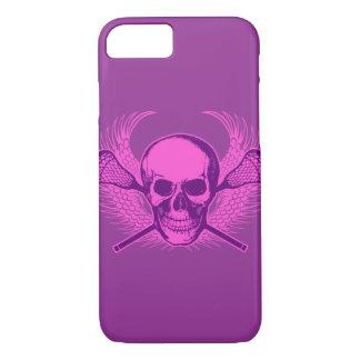 Coque iPhone 7 Cas de l'iPhone 6 de crâne de lacrosse - pourpre
