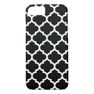 Coque iPhone 7 Cas de l'iPhone 7 de Quatrefoil en noir et blanc