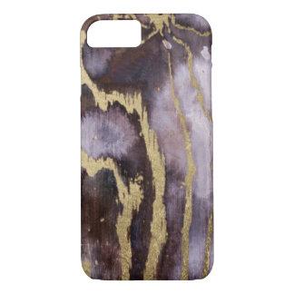 Coque iPhone 7 Cas de téléphone d'aquarelle de violette et d'or