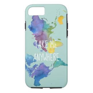 Coque iPhone 7 Cas de téléphone d'aquarelle inspiré par voyage
