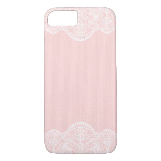 Coque iPhone 7 Cas Girly de l'iPhone 7 de dentelle florale rose