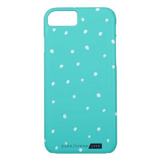 Coque iPhone 7 Cas turquoise de téléphone de pois