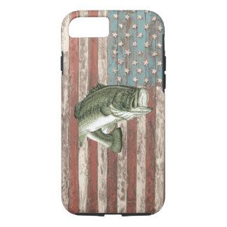 Coque iPhone 7 Cas vintage de pêche au bar de drapeau de