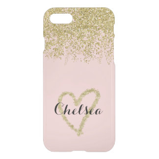 Coque iPhone 7 Cascade de parties scintillantes de quartz rose et