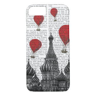 Coque iPhone 7 Cathédrale de St Basil et ballons à air d'un rouge