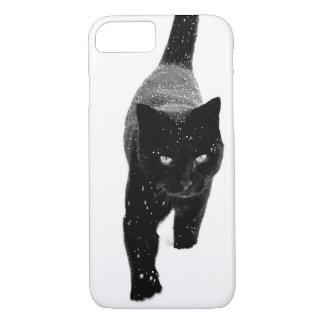 Coque iPhone 7 Chat noir dans la neige - cas de l'iPhone 7