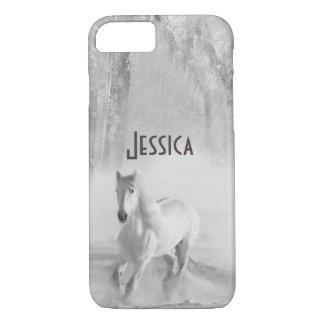 Coque iPhone 7 Cheval blanc fonctionnant dans une forêt de Milou