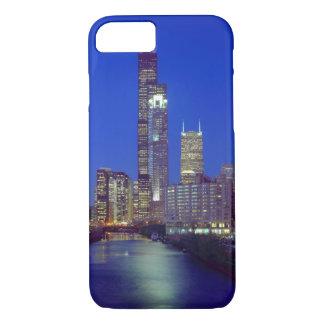 Coque iPhone 7 Chicago, l'Illinois, horizon la nuit avec Chicago
