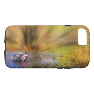 Coque iPhone 7 Chien de traîneau sibérien dans l'eau