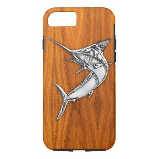 Coque iPhone 7 Chrome nautique Marlin bleu sur la copie en bois
