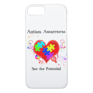 Coque iPhone 7 Coeur brillant d'autisme