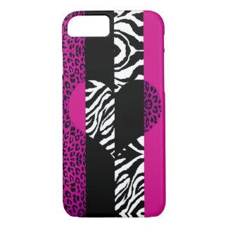 Coque iPhone 7 Coeur d'animal de léopard et de zèbre de roses