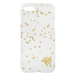 Coque iPhone 7 Coeur de confettis d'or