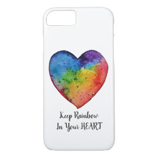 Coque iPhone 7 Coeur mignon d'arc-en-ciel d'aquarelle