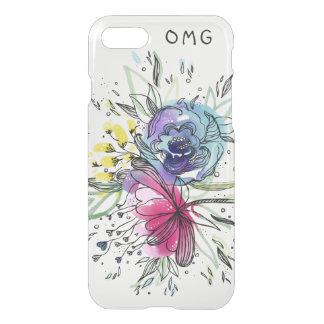 Coque iPhone 7 Conception de monogramme de fleurs de Pink&Blue
