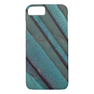 Coque iPhone 7 Conception de plume de martin-pêcheur de turquoise