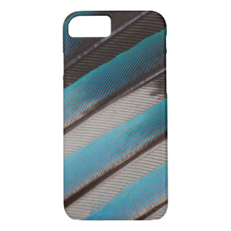 Coque iPhone 7 Conception de plume de rouleau Bleu-Gonflée par