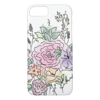 Coque iPhone 7 conception florale de style d'aquarelle