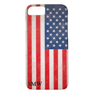 Coque iPhone 7 Conception patriotique de drapeau des Etats-Unis