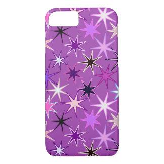 Coque iPhone 7 Copie moderne de Starburst, pourpre violet et