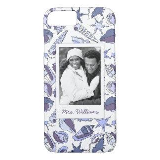Coque iPhone 7 Coquillages de Lavendar | votre photo et nom