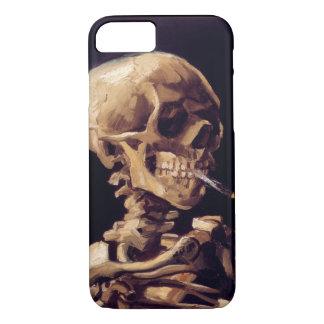 Coque iPhone 7 Crâne de Van Gogh avec la cigarette brûlante