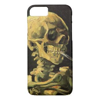 Coque iPhone 7 Crâne de Van Gogh avec la cigarette brûlante, art