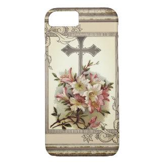 Coque iPhone 7 Croix chrétienne florale