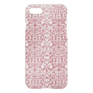 Coque iPhone 7 Damassé florale de rose rose