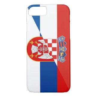 Coque iPhone 7 de symbole de pays de drapeau de la Serbie Croatie
