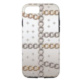 Coque iPhone 7 Diamant rose de fleur de chaîne à maillons d'or
