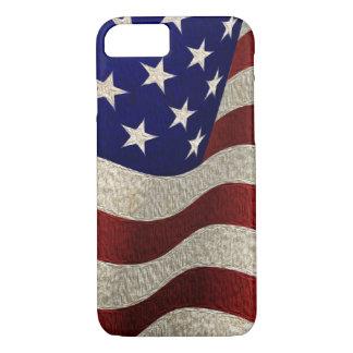 Coque iPhone 7 Drapeau américain vintage avec l'effet texturisé