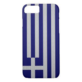 Coque iPhone 7 Drapeau de la Grèce avec l'effet de fibre de